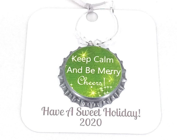 Christmas Wine Charms - Keep Calm and Be Merry Theme -  6 per set - Party Favor Packaging Option Available