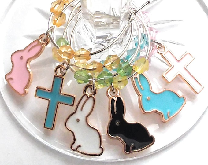 Easter Bunny Wine Charms On Gift Tag With Gift Bag (6 Pack)