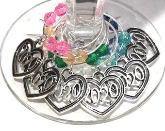 New Years Eve 2020 Wine Charms - 6 Pack - Party Favor Packaging Option Available