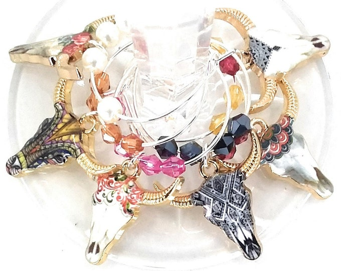 Cow Wine Charms Glass Tag Identifiers - 6 Per Set