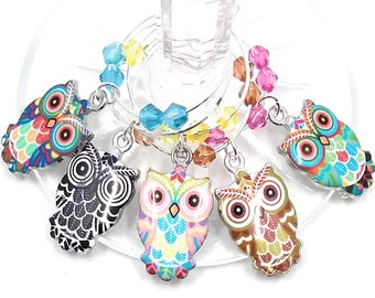 Owl Wine Charms Glass Tag Identifiers - 5 Per Set