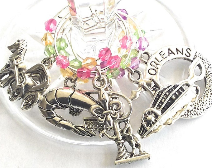 Mardi Gras Wine Charm - New Orleans Big Boat /6 pack