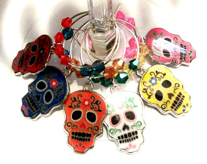 Halloween Wine Charms - Day Of The Dead Skulls Set, 6 pack