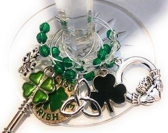 St. Patrick's Day Wine Charms - Kiss Me I'm Irish - 6/pack
