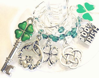 St. Patrick's Day Wine Charms - 100% Irish - 6/pack