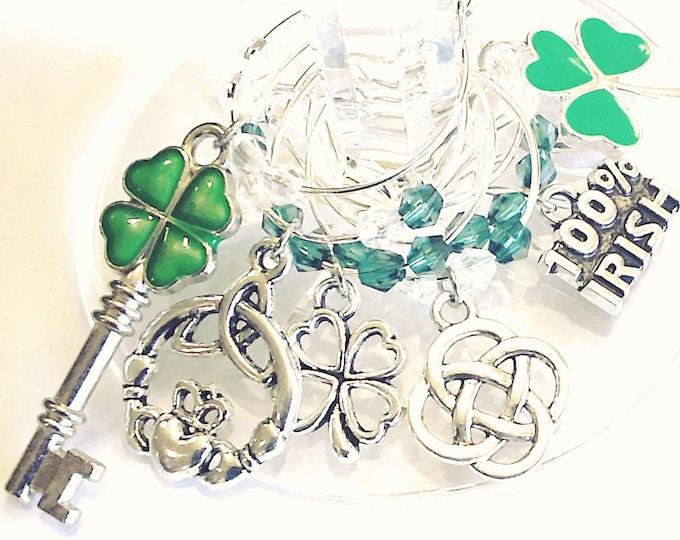 St. Patrick's Day Wine Charms - 100% Irish - 6/pack