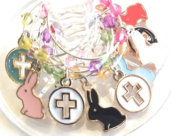 Easter Wine Glass Charms - Bunnies & Crosses (9 Pack)
