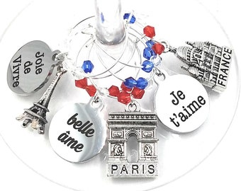 French Wine Charms - France Theme Wine Charms - 6/pack