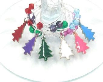 Gift Boxed Christmas Tree Wine Charms - Trees 6/Pack - gift box option