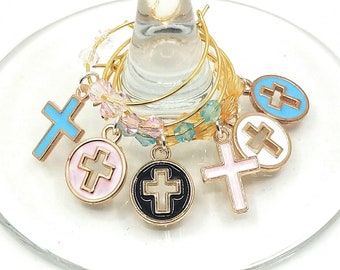 Religious Easter Wine Charms - Crosses (6 Pack)