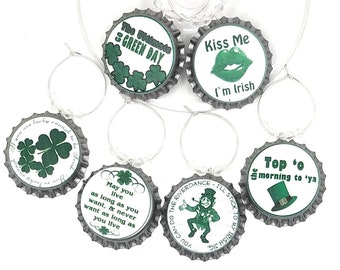 St. Patrick's Day Wine Charms - Bottle Cap Wine Charms 6/pack