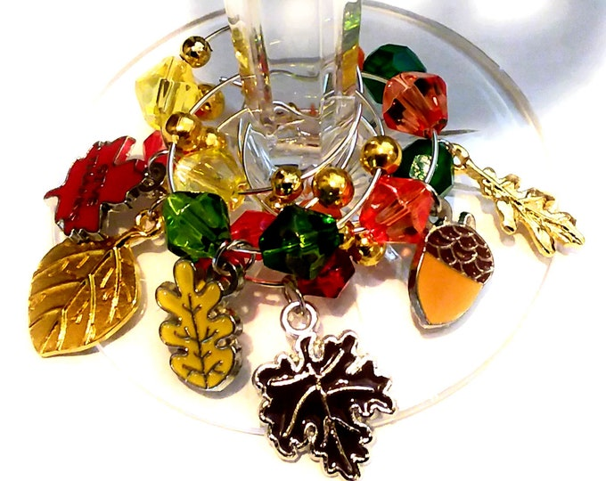 Thanksgiving Wine Charms Autumn Leaves Plus Acorn - Pack Of 6
