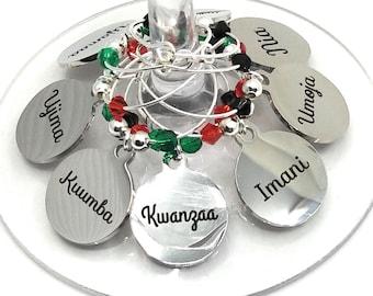 Kwanzaa Wine Charms - Kwanzaa Gift - Kwanzaa Party Supplies - 8 pack