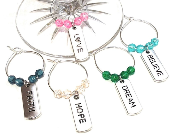 Inspirational Wine Charms - Believe - 5 pack