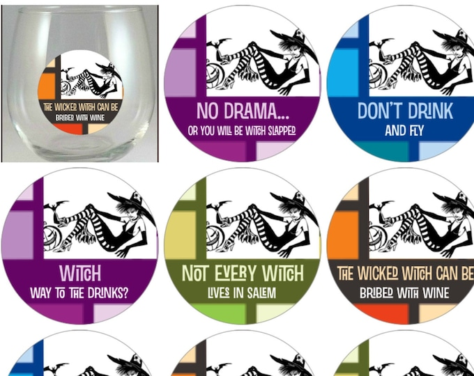 Halloween Glass Decals - Witches Night Out - Glass Not included - 8 Pack