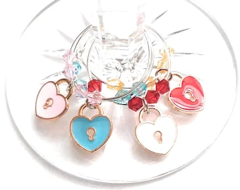 Heart LOVE Wine Charms - With Gift Bag -  4/pack