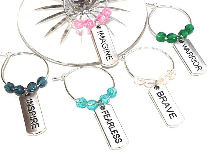 Inspirational Wine Charms - Warrior - 5 pack