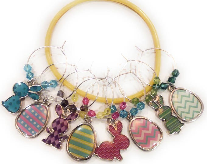 Easter Wine Glass Charms - Bunnies & Eggs (8 Pack)
