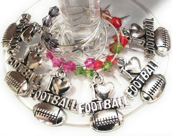 Super bowl Football Wine Charms - Silver Tone 6/Pack