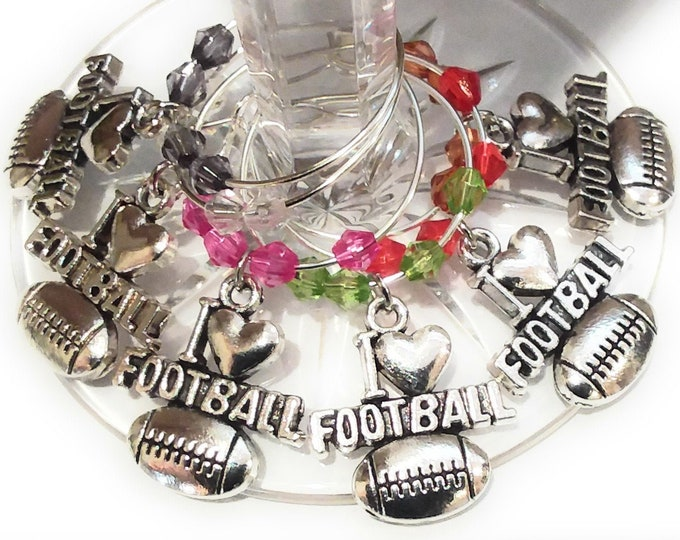 Superbowl Football Wine Charms - Silver Tone 6/Pack