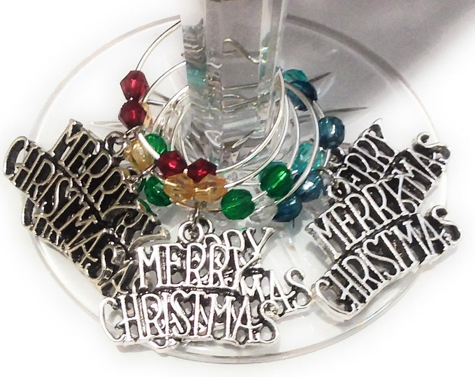 Merry Christmas Wine Glass Charms Silver Tone - Pack Of 6 - Party Favor Packaging Option Available