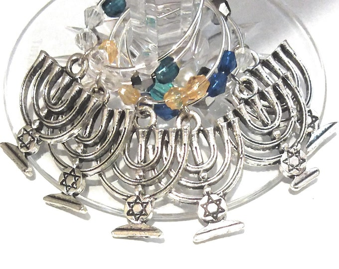 Hanukkah Menorah Wine Charms Gift - 6 pack