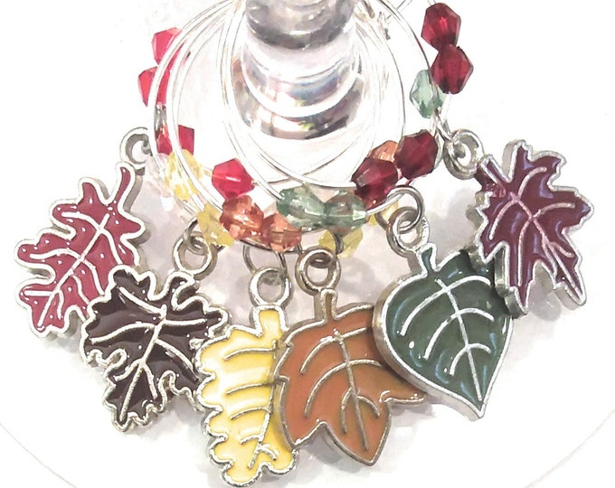 Thanksgiving Wine Charms Autumn Leaves - Pack Of 6 - Party Favor Packaging Option Available