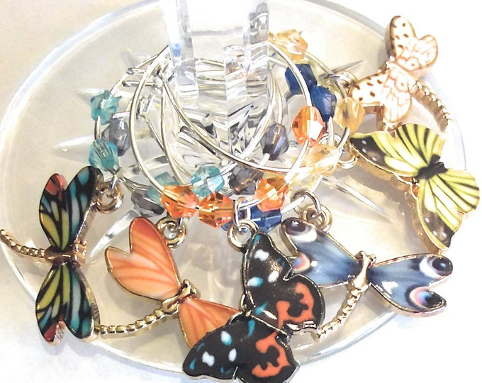 Butterfly and Dragonfly Wine Charms For Summer Party - Fourth Of July Wine Charms - Independence Day/July 4th - Pack of 6
