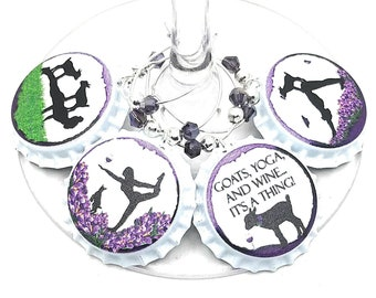 Goat Yoga Wine Charms - Goat Yoga Gifts - 4 Per Set