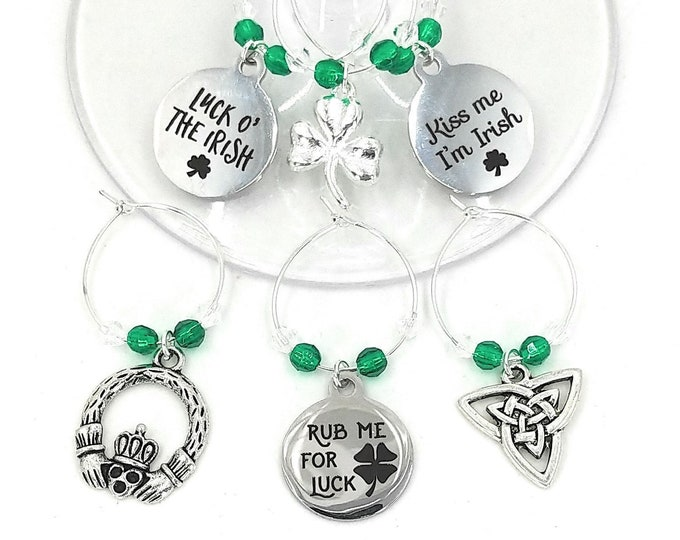 St. Patrick's Day Wine Charms - Rub Me For Luck - 6/pack