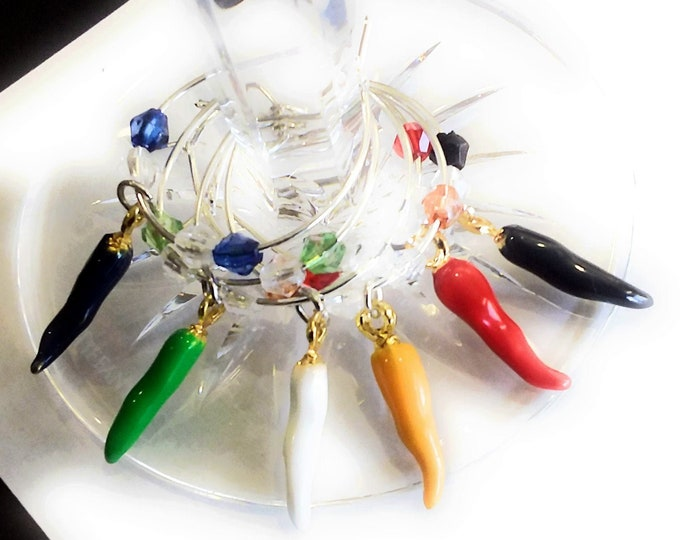Cinco De Mayo Wine Charms -  Chili Pepper Wine Charms - 6/Pack