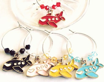Airplane - Travel Wine Charms - 5/pack