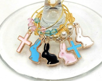 Easter Wine Charms - Bunnies and Crosses (6 Pack)