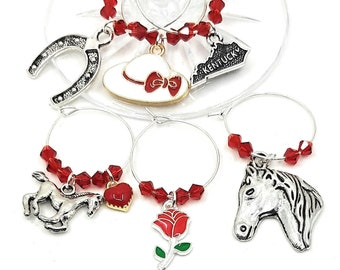 Kentucky Derby Wine Charms -  6 pack - Glass Not included