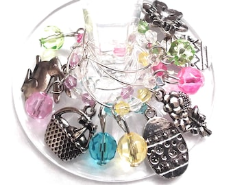 Easter Wine Charms - Silver (6 Pack)