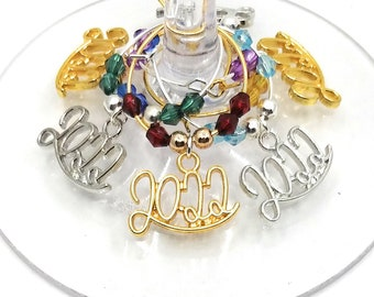 New Years Eve Wine Charms, 2022 - 6 Pack - Party Favor Packaging Option Available