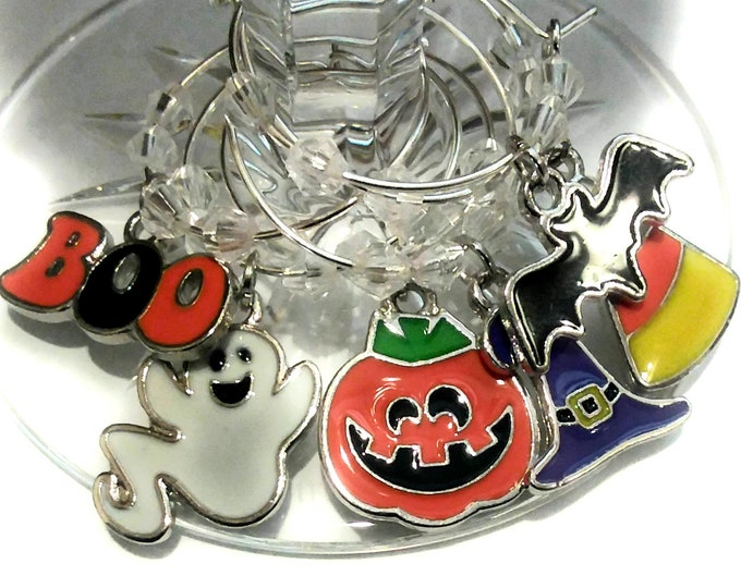 Halloween Wine Charms - Enamel Boo Halloween Wine Charms 6/pack
