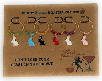 Easter Bunny Wine Charms - Bunny Kisses and Easter Wishes (6 Pack)