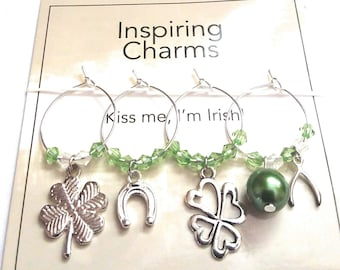 St. Patrick's Day Wine Charms - Kiss Me I'm Irish - 4/pack
