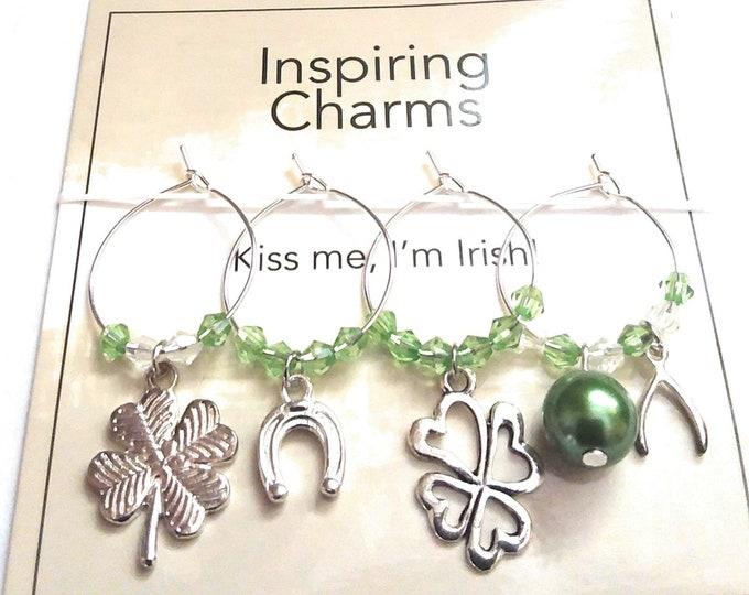 St. Patrick's Day Wine Charms - Kiss Me I'm Irish - 4/pack