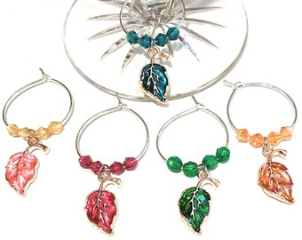 Thanksgiving Wine Charms Autumn Leaves - Gold Tone - Pack Of 5