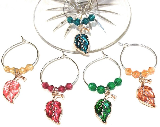 Thanksgiving Wine Charms Autumn Leaves - Gold Tone - Pack Of 5 - Party Favor Packaging Option Available