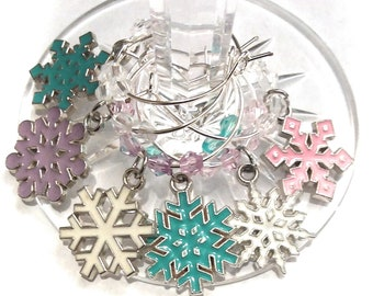 Christmas Wine Charms - Snowflakes, 6 pack - Party Favor Packaging Option Available