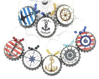Nautical Bottle Cap Wine Charms - 8 per set
