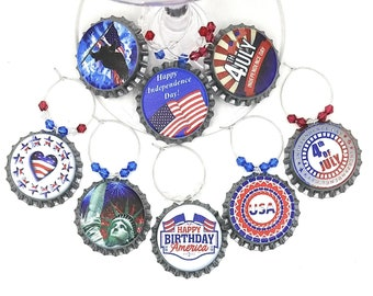 Fourth Of July Bottle Cap Wine Charms  8/pack