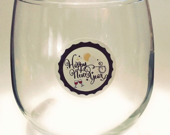 "New Year's Eve Glass Decals - Glass Not included - 12 pack-1.25"" NYE"