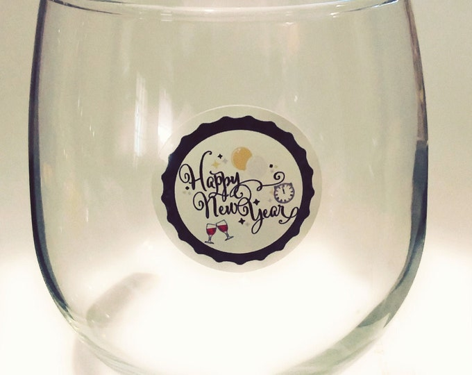 """New Year's Eve Glass Decals - Glass Not included - 12 pack-1.25"""" NYE"""