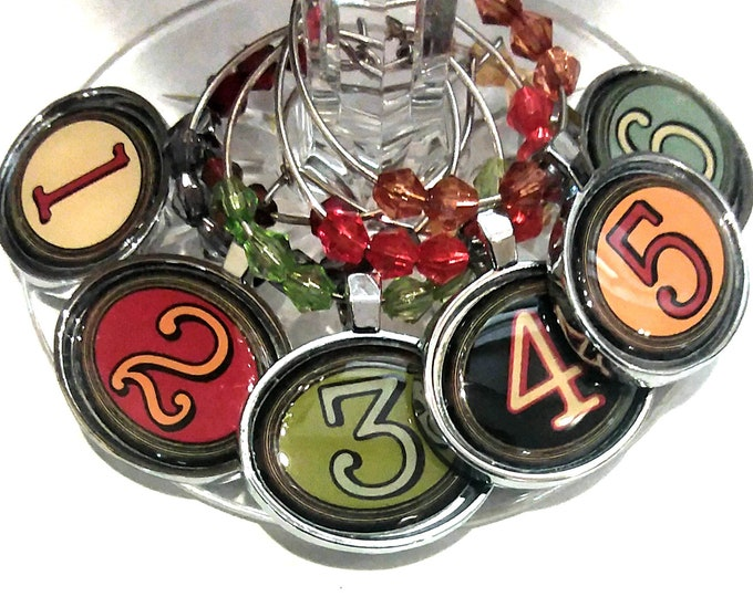 Number Wine Charms - 6 Per Set