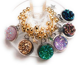 Any Occasion Wine Charms - Resin Druzy Wine Charms - 6 pack