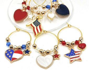 Fourth Of July Wine Charms - Independence Day/July 4th - Gold Tone - Pack of 6